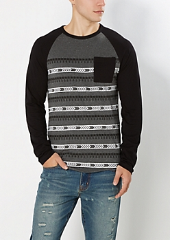 Gray Geo Striped Baseball Top