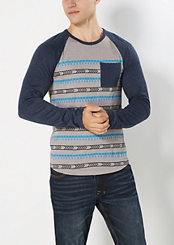 Blue Geo Striped Baseball Top