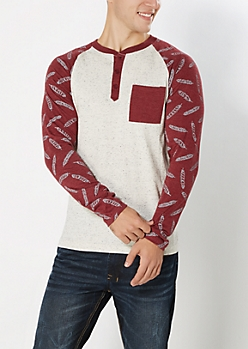 Burgundy Feather Baseball Henley Top
