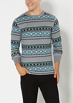 Light Green Southwestern Thermal Top