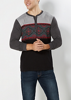 Red Southwestern Henley Top