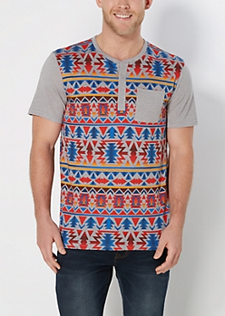 Red Aztec Striped Henley Tee