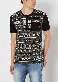 Olive Aztec Striped Henley Tee