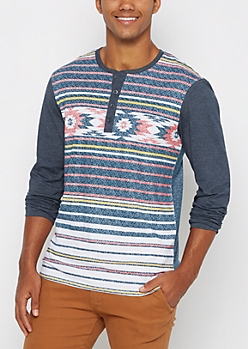 Navy Southwest Color Block Henley Top