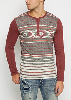 Burgundy Southwest Color Block Henley Top