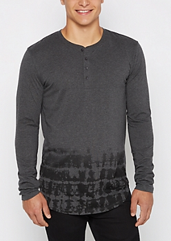 Charcoal Dip Dye Long Length Henley Top