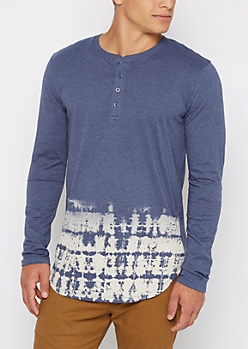 Navy Dip Dye Long Length Henley Top