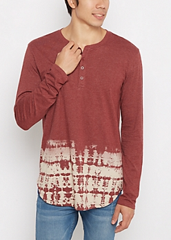 Burgundy Dip Dye Long Length Henley Top