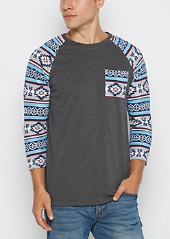 Charcoal Aztec Baseball Top
