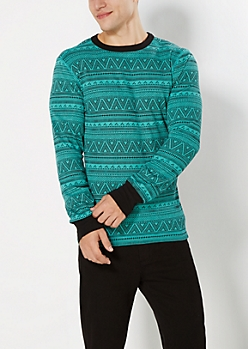 Mint Tribal Chevron Thermal Top
