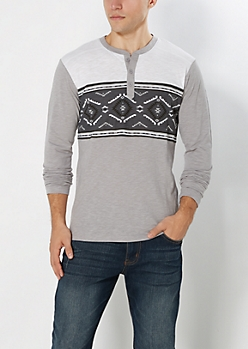 Gray Aztec Henley Top