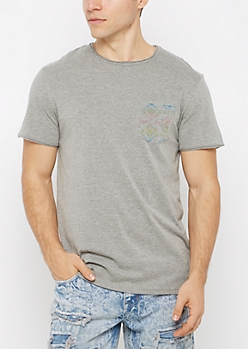 Gray Aztec Pocket Raw Edge Tee