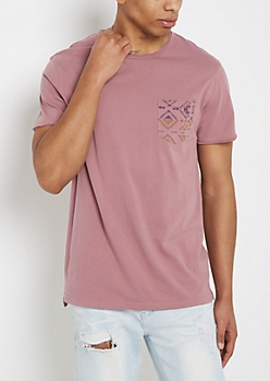 Dusty Rose Aztec Pocket Raw Edge Tee