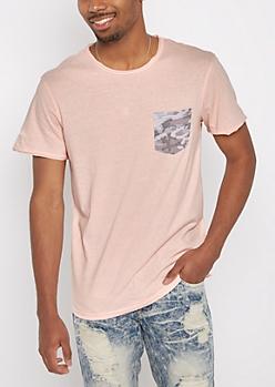 Pink Camo Pocket Raw Edge Tee