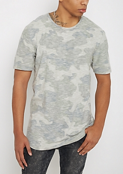 Faded Camo Slub Knit Long Length Tee