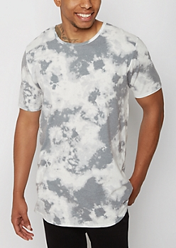 Gray Tie-Dye Longer Length Essential Tee