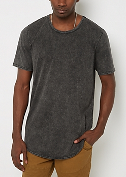 Black Mineral Washed Long Length Essential Tee