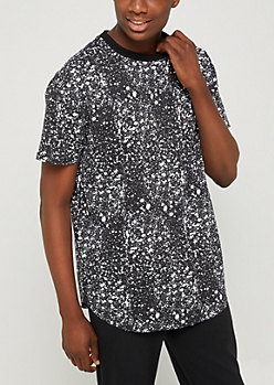 Black Paint Splatter Relaxed Fit Tee