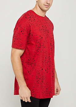 Red Paint Splatter Relaxed Fit Tee