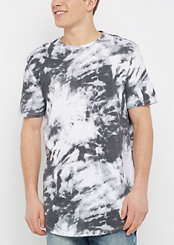 Black Tie-Dye Longer Length Shirttail Essential Tee
