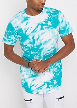 Teal Tie-Dye Longer Length Shirttail Essential Tee