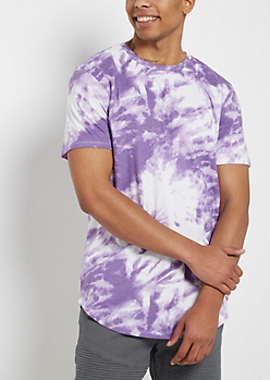 Purple Tie-Dye Longer Length Scoop Tee