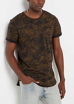 Brown Mineral Washed Long Length Tee