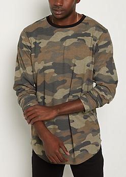 Green Camo Long Length Tee