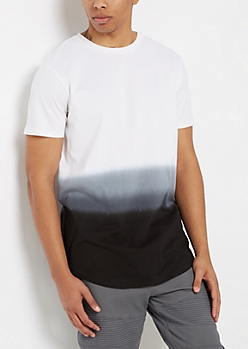 Black Dip Dye Long Length Tee