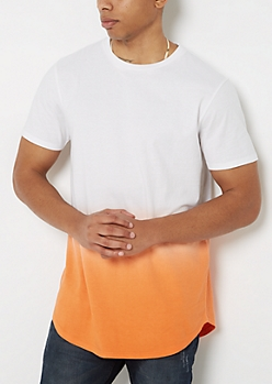 Orange Dip Dye Long Length Tee