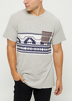 Tribal Print Slub Knit Tee