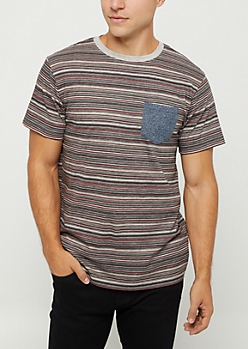 Striped Print Slub Knit Tee