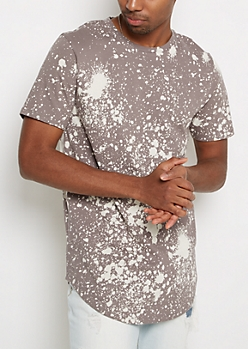 Gray Paint Splatter Longline Tee