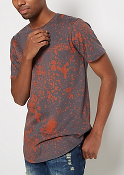 Copper Paint Splatter Longline Tee