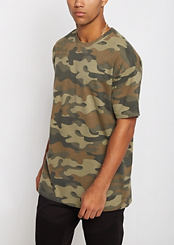 Camo Relaxed Longline Tee