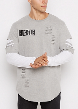 Hustle Ripped Layered Longline Tee