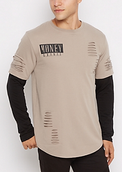 Money XX Ripped Layered Longline Tee