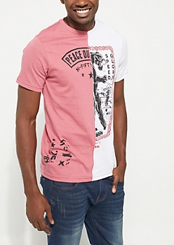 Pink & White Split Screen Short Sleeve Graphic Tee