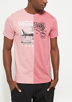 Pink Split Screen Short Sleeve Graphic Tee
