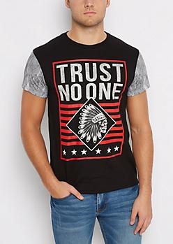 Trust No One Headdress Color Block Graphic Tee