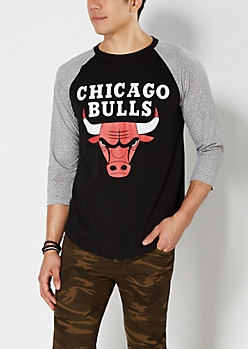 Black Chicago Bulls Elephant Skin Baseball Top