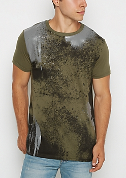 Olive Tonal Paint Splattered Reflective Tee