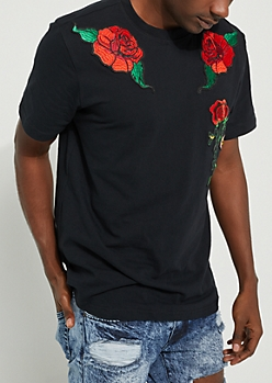 Rose Patch Short-Sleeved Black Tee