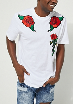 Rose Patch Short-Sleeved White Tee