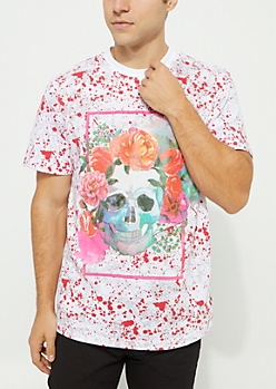 White Skull & Flowers Paint Splatter Tee