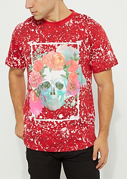 Red Skull & Flowers Paint Splatter Tee
