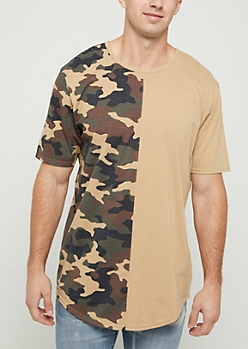 Camo Split Long Length Tee