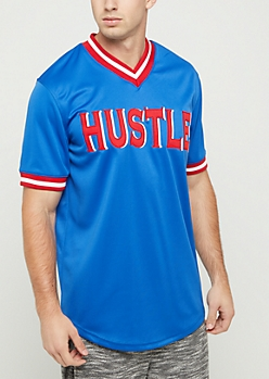 Royal Blue Hustle V Neck Jersey Tee