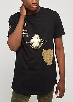 White Gold Foil Crest Zipped Tee