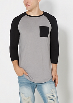 Gray Super Soft  Baseball Pocket Tee